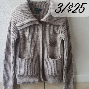 LRL  thick knot zip up cowl neck  Large EUC